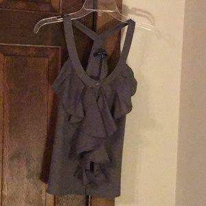 Gray Naked Zebra sleeveless top with ruffle S